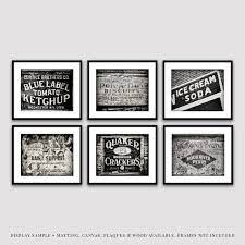 black and white rustic kitchen wall art