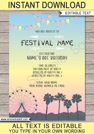 Photo Party Invitations Coachella Themed Party Invitations Template Pastel Colors