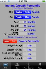 Growth Chart Calculator Apps For Iphone Ipad And Ipod Touch Instant Growth Chart