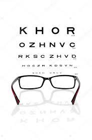 Reading Eyeglasses And Eye Chart Stock Photo