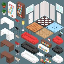isometric office furniture vector collection. Isometric Office Planning. 3D Vector Creation Kit. Illustration In Eps10, Furniture Collection T