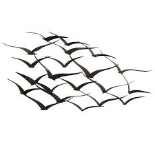 urban designs handcrafted flock of birds metal wall art