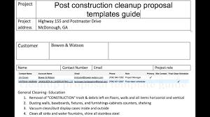 Post Construction Cleanup Proposal Templates Construction