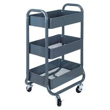 3-Tier Rolling Cart Gray - Room Essentials