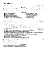 Personal Care Assistant Resume Sample Personal Care Assistant Resume ...