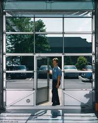 gas station garage door with man door
