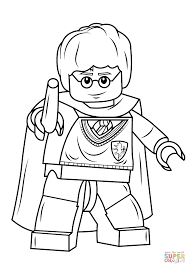 Lego Harry Potter With Wand Coloring Page Free Printable Hp