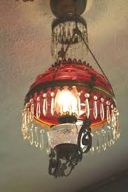 cranberry lamp shade american victorian hobnail antique hanging oil 17