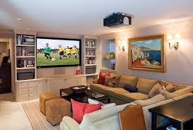 Dazzling Coffee Table With Ottomans Underneath In Family Room Traditional  With Tv Cabinets Design Next To Bookcase With Tv Alongside Projector And  Wall ...