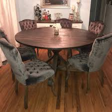 rustic round pedestal base table round kitchen table round image 0