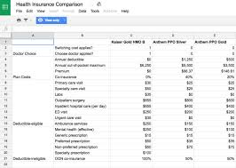 Health Insurance Comparison Chart Canada Spreadsheet For Picking A Healthcare Plan Business Insider