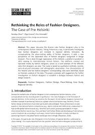 Fashion Design Roles Pdf Rethinking The Roles Of Fashion Designers The Case Of