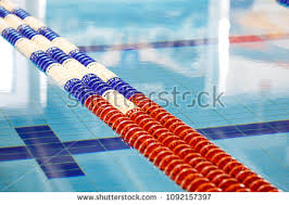 closeup image of red line in swimming pool 1092157397