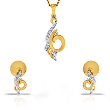 princess elia diamond gold pendant set cjsps0398 y