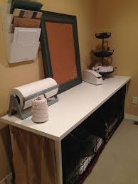 ikea desk top and legs over 2 dog crates makes a great crafting table i