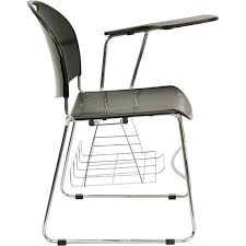 black plastic chair with left handed flip up tablet arm and chrome frame rut