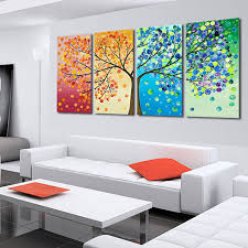 4 piece hand painted the season tree oil painting colorful wall art canvas picture modern abstract home decor living room set us 43 90 on 4 piece wall art set with 4 piece hand painted the season tree oil painting colorful wall art