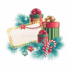 Blank Boxes To Decorate Christmas Gift Boxes With Blank Greeting Card Stock Illustration 98