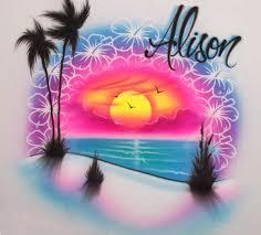 Airbrush Designs Beach Sunset Flower Personalized Airbrush Design In 2020