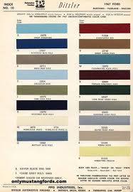 2012 Mustang Color Chart 1967 Mustang Colors