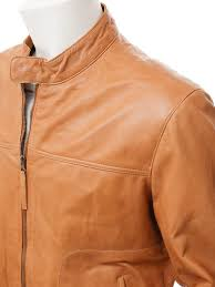 men s tan leather biker jacket oldenburg side
