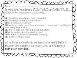 Fable, Folktale, Or Myth Element Printable Checklist Common Core Aligned