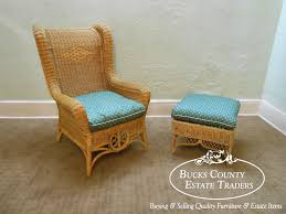 ralph lauren wicker rattan wing chair w ottoman