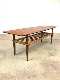 danish modern teak oak coffee table
