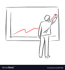 Drawing Chart Businessman In Suit Drawing Chart Of Financial