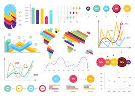 Useful Charts Set Of Most Useful Infographic Elements Bar Graphs World Map