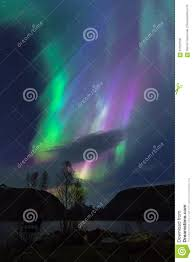 Northern Lights Norway 2015 Northern Lights Colorful Sky Over Lake In Norway Stock Image