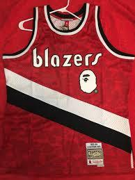 Mitchell Ness Blazers Red Bape Basketball Jersey Wingman X Abc amp;