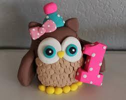 Fondant Owl Cake Topper Edible Woodland Cake Topper WoodlandBaby Shower Owl Cake Toppers