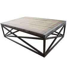 industrial low coffee table with wood