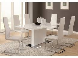 Coaster Modern Dining 7 Piece White Table \u0026 White Upholstered ...