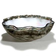 cocai gray decorative glass bowl glass black centerpiece inlay with mother of pearl effect modern home decor idea for any living room