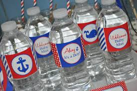 Decorating Water Bottles For Baby Shower Nautical BABY SHOWER Water Bottle Labels Boys Baby Shower 39