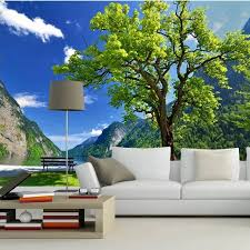 Scenery Wallpaper For Bedroom Custom 3d Mural Photo Wall Paper Scenic Landscape Tree Living Room