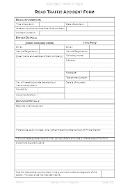 Post Incident Report Template Blank Accident Traffic