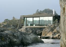 Concrete Cabin Boat Access Only Summer Cabin Straddles Boulders