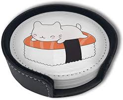 Amazon.com | Kawaii Sushi Cat <b>PU</b> Leather <b>Coasters</b>, <b>Round</b> Drinks ...