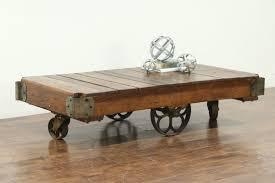 industrial salvage vintage cart or trolley iron wheels coffee table uk crt29