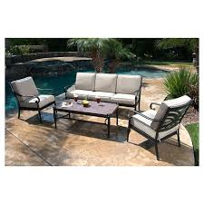 metal patio chairs. Kent 4-Piece Metal Patio Conversation Furniture Set Chairs A