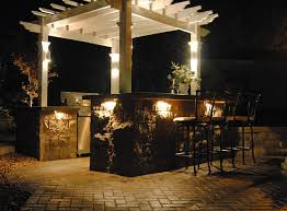 backyard bar and pergola with accent