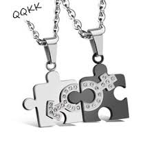 fashion jewelry his and hers matching set anium steel crystal jigsaw pendant couple necklace one pair
