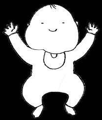 バンザイして微笑む赤ちゃんのイラスト えんぴつと画用紙
