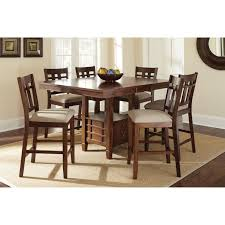 steve silver bolton 7 piece counter height storage dining table set dark oak com