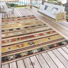indoor outdoor rug ethnic cream red yellow