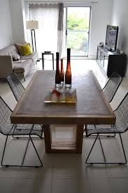concrete and wood furniture. Black And White Kitchen Art Designs For Concrete Reclaimed Wood Dining Table Furniture