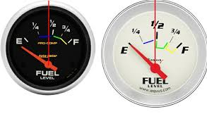 aftermarket fuel gauge in a 72 cj5 jeepforum com 1 2 tank is a little offset on the pro comp for 1 2 tank as compared the other gauge